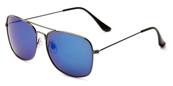 Angle of Aspen #365 in Grey Frame with Blue Mirrored Lenses, Women's and Men's Aviator Sunglasses