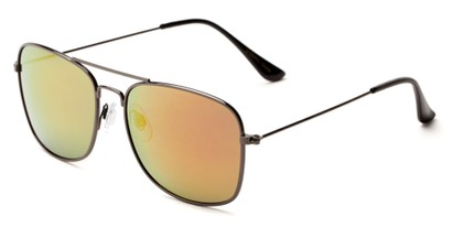 Angle of Aspen #365 in Grey Frame with Red/Orange Mirrored Lenses, Women's and Men's Aviator Sunglasses