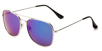 Angle of Aspen in Silver Frame with Green/Purple Mirrored Lenses, Women's and Men's Aviator Sunglasses