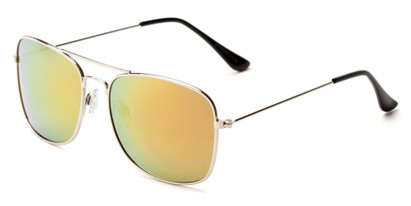 Angle of Aspen #365 in Silver Frame with Red/Orange Mirrored Lenses, Women's and Men's Aviator Sunglasses