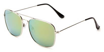 Angle of Aspen #365 in Silver Frame with Yellow/Blue Mirrored Lenses, Women's and Men's Aviator Sunglasses