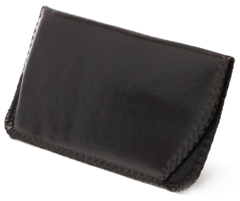 Angle of Bison #8080 in Black Faux Leather Pouch, Women's and Men's  Soft Case