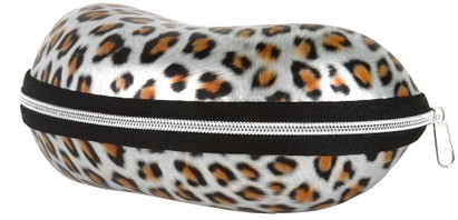 Angle of Large Leopard Print Case #1008 in Silver Leopard, Women's and Men's