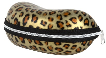 Angle of Large Leopard Print Case #1008 in Gold Leopard, Women's and Men's