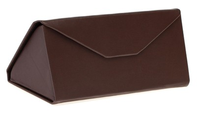 Angle of SW Faux Leather Folding Case #605 in Brown, Women's and Men's