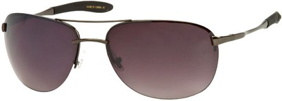 Angle of SW Large Rimless Style #1594 in Glossy Grey Frame with Smoke Lenses, Women's and Men's