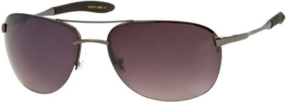 Angle of SW Large Rimless Style #1594 in Matte Grey Frame with Smoke Lenses, Women's and Men's