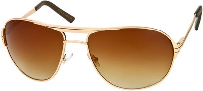Angle of Takeoff #2005 in Gold Frame with Amber Lenses, Women's and Men's Aviator Sunglasses