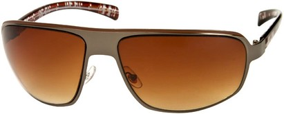 Angle of SW Large Aviator Style #1170 in Grey/Brown Plaid Frame with Amber Lenses, Women's and Men's