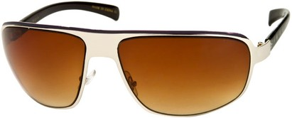 Angle of SW Large Aviator Style #1170 in Silver/Blue Frame with Amber Lenses, Women's and Men's