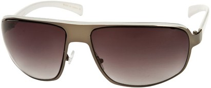 Angle of SW Large Aviator Style #1170 in Grey/White Frame with Smoke Lenses, Women's and Men's