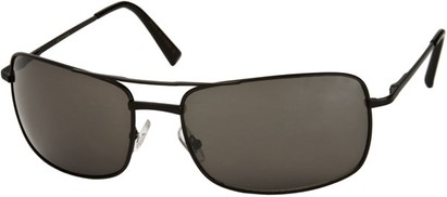 Angle of SW Large Square Aviator Style #1618 in Matte Black Frame with Grey Lenses, Women's and Men's