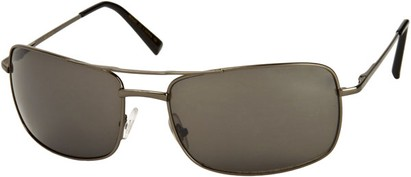 Angle of SW Large Square Aviator Style #1618 in Grey Frame with Grey Lenses, Women's and Men's