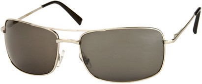 Angle of SW Large Square Aviator Style #1618 in Silver Frame with Grey Lenses, Women's and Men's