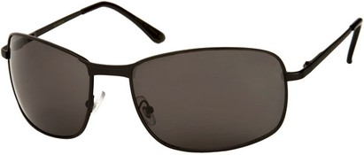 Angle of Anchorage #8855 in Matte Black Frame with Grey Lenses, Women's and Men's Square Sunglasses