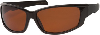 Angle of Alps #1898 in Black Frame with Amber Lenses, Women's and Men's Sport & Wrap-Around Sunglasses
