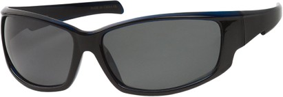 Angle of Alps #1898 in Black/Blue Frame with Grey Lenses, Women's and Men's Sport & Wrap-Around Sunglasses
