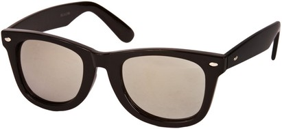 Angle of SW Mirrored Retro Style #2295 in Black Frame with Mirrored Lenses, Women's and Men's