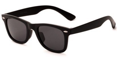 Angle of Malta #1467 in Matte Black Frame with Smoke Lenses, Women's and Men's Retro Square Sunglasses
