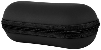 Angle of Large Faux Leather Zip-Shut Case #9399 in Black, Women's and Men's