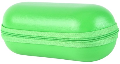 Angle of Large Faux Leather Zip-Shut Case #9399 in Lime Green, Women's and Men's