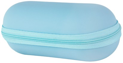 Angle of Large Faux Leather Zip-Shut Case #9399 in Sky Blue, Women's and Men's