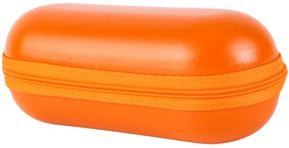 Angle of Large Faux Leather Zip-Shut Case #9399 in Orange, Women's and Men's