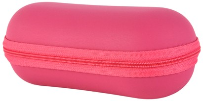 Angle of Large Faux Leather Zip-Shut Case #9399 in Hot Pink, Women's and Men's