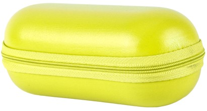 Angle of Large Faux Leather Zip-Shut Case #9399 in Yellow, Women's and Men's