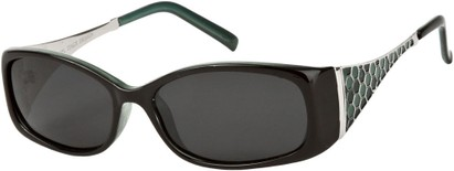 Angle of Raleigh #99710 in Black and Teal, Women's Square Sunglasses