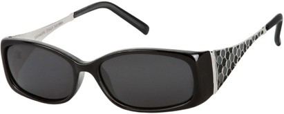 Angle of Raleigh #99710 in Black and White Frame with Smoke Lenses, Women's Square Sunglasses