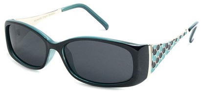 Angle of Raleigh #99710 in Black and Turquoise Blue Frame with Smoke Lenses, Women's Square Sunglasses