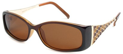 Angle of Raleigh #99710 in Brown and Orange Frame with Amber Lenses, Women's Square Sunglasses