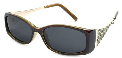 Angle of Raleigh #99710 in Brown and Green Frame with Smoke Lenses, Women's Square Sunglasses