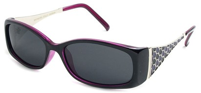 Angle of Raleigh #99710 in Black and Purple Frame with Smoke Lenses, Women's Square Sunglasses