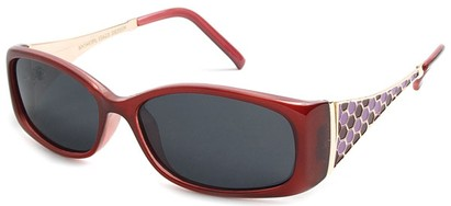Angle of Raleigh #99710 in Red and Pink Frame with Smoke Lenses, Women's Square Sunglasses