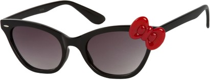 Angle of SW Cat Eye Bow Style #7299 in Black Frame with Red Bow, Women's and Men's