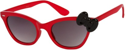 Angle of SW Cat Eye Bow Style #7299 in Red Frame with Black Bow, Women's and Men's