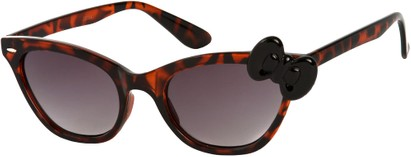 Angle of SW Cat Eye Bow Style #7299 in Brown Tortoise Frame with Black Bow, Women's and Men's