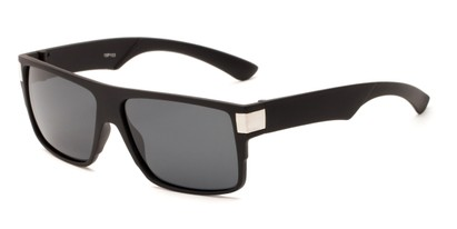 Angle of Barrel #15103 in Black Frame with Grey Lenses, Men's Square Sunglasses