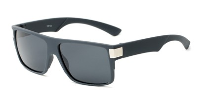 Angle of Barrel #15103 in Dark Grey Frame with Grey Lenses, Men's Square Sunglasses