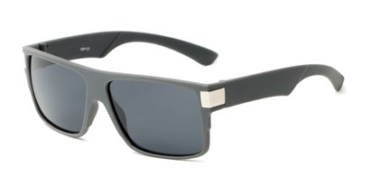 Angle of Barrel #15103 in Light Grey Frame with Grey Lenses, Men's Square Sunglasses