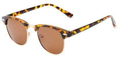 Angle of Bluegrass #2020 in Tortoise/Gold Frame with Amber Lenses, Women's and Men's Browline Sunglasses