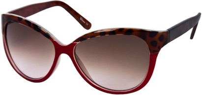 Angle of Sydney #37 in Red and Brown Leopard with Amber Lenses, Women's Cat Eye Sunglasses