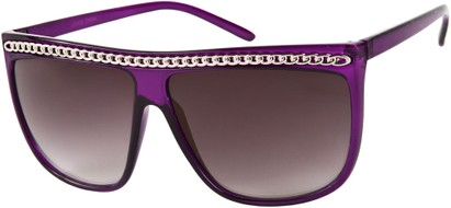 Angle of SW Celebrity Style #620 in Solid Purple Frame with Silver Chain, Women's and Men's