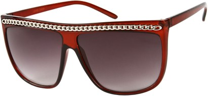 Angle of SW Celebrity Style #620 in Solid Red Frame with Silver Chain, Women's and Men's