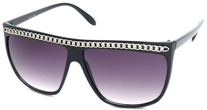 Angle of SW Celebrity Style #620 in Black Frame with Silver Chain, Women's and Men's