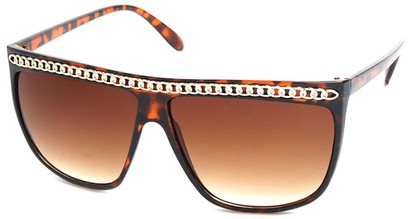 Angle of SW Celebrity Style #620 in Brown Tort Frame with Gold Chain, Women's and Men's