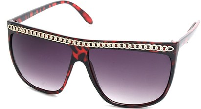 Angle of SW Celebrity Style #620 in Red Tort Frame with Gold Chain, Women's and Men's