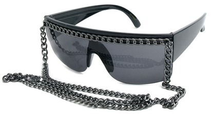Angle of SW Celebrity Chain Style #81 in Black and Grey, Women's and Men's